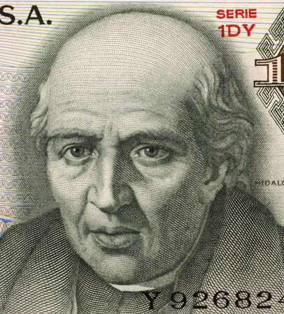 unc: Miguel Hidalgo y Costilla on 10 Pesos 1975 Banknote from Mexico. Priest and leader of the Mexican war of independence. Also known as father of the nation.