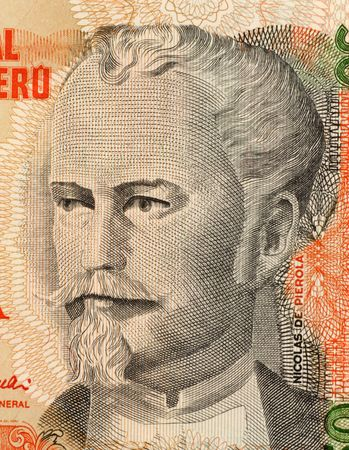 unc: Nicolas de Pierola on 50 Intis 1987 Banknote from Peru. Peruvian finance minister and twice president of the republic.