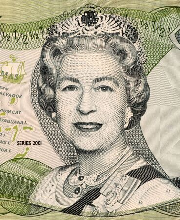 unc: Queen Elizabeth II on 50 Cents 2001 Banknote from Bahamas