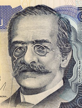 unc: Ricardo Palma on 10 Intis 1986 Banknote from Peru. Peruvian author, scholar and librarian Stock Photo