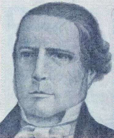 unc: Santiago Derqui on 10 Austral 1985 Banknote from Argentina. President of Argentina during 1860-1861. Stock Photo