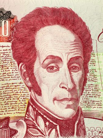 Simon Bolivar on 1000 Bolivares 1998 Banknote from Venezuela. One of the most important leaders of Spanish Americas successful struggle for independence.