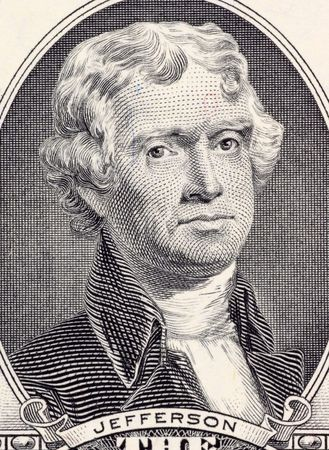 thomas: Thomas Jefferson on 2 Dollars 2003 Banknote from USA. Third president of the United States during 1801-1809.