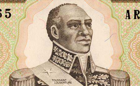 Toussaint Louverture, le 1er Gourde 1989 billets en provenance d'Haïti. Leader de la révolution haïtienne. Banque d'images - 5239247