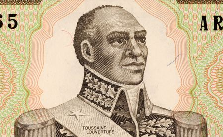 uncirculated: Toussaint Louverture on 1 Gourde 1989 Banknote from Haiti. Leader of the Haitian revolution. Stock Photo