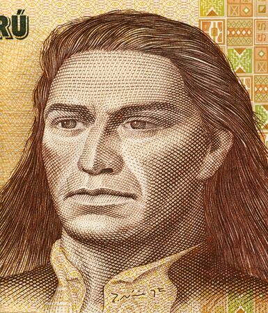 unc: Tupac Amaru II on 500 Intis 1987 Banknote from Peru. Leader of the indigenous uprising in 1780 against the Spanish occupation.