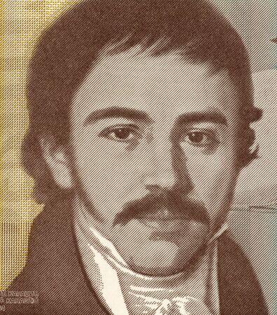 linguist: Vuc Stefanovic Karadzic on 10 Dinara 2000 Banknote from Yugoslavia.  Serbian linguist and major reformer of the Serbian language.