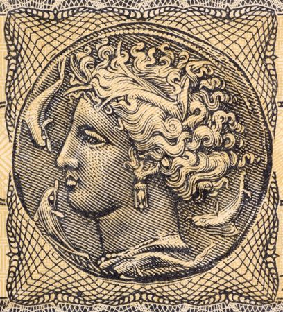 banknote uncirculated: Arethusa on 5000000 Drachmai 1944 Banknote from Greece. Nereid nymph who became a fountain.