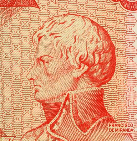 forerunner: Francisco de Miranda on 5 Bolivares 1989 Banknote from Venezuela. Revolutionary forerunner of Simon Bolivar.