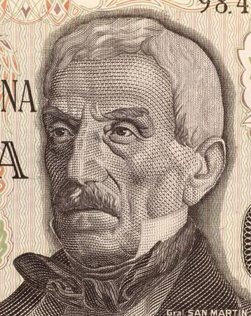 jose de san martin: Jose de San Martin on 50 Pesos 1976 Banknote from Argentina. General and prime leader of the south part of South Americas successful struggle for independence against Spain. Stock Photo
