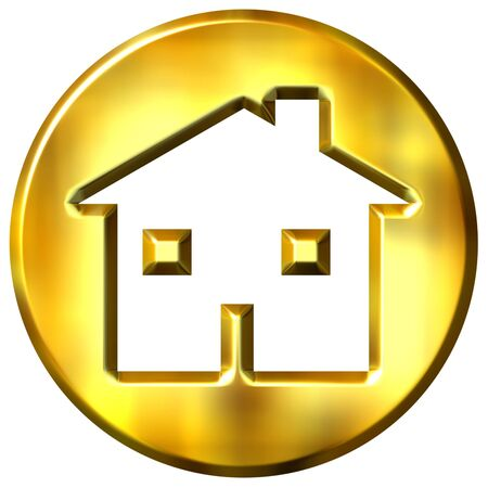 gold house: 3d golden home sign