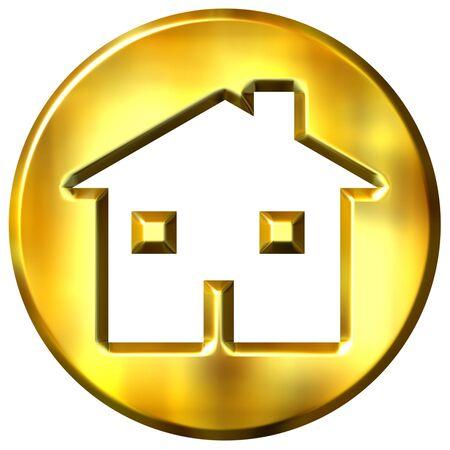 shinning: 3d golden home sign