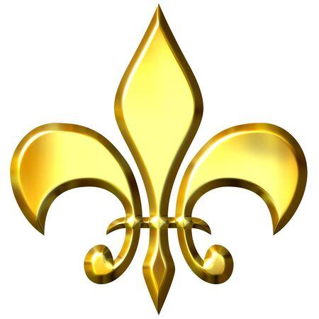 lis: 3d golden fleur de lis