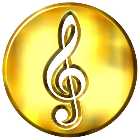 3d golden framed treble clef  photo
