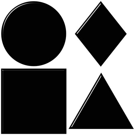 set square: 3d black shapes with reflection