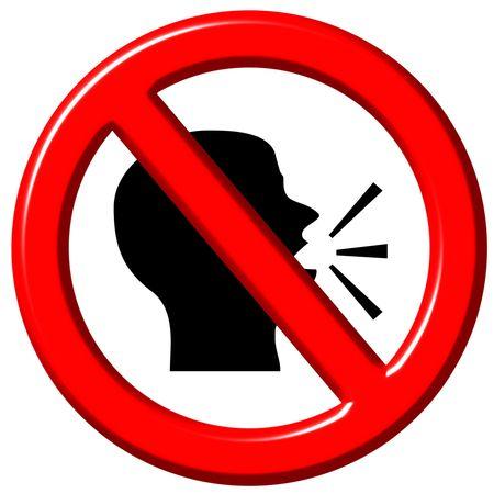 silence: Do not speak 3d sign