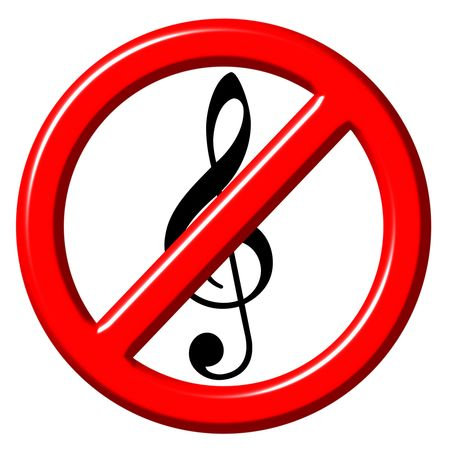 No music 3d sign photo