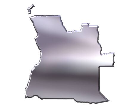 map of angola: Angola 3d silver map isolated in white Stock Photo
