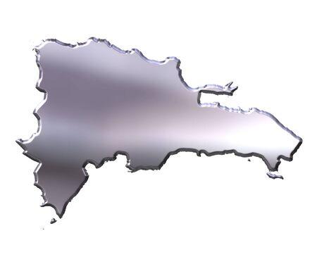 Mapa de plata 3d de Rep�blica Dominicana aislado en blanco  Foto de archivo - 5617142