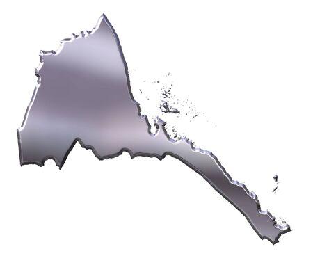 eritrea: Eritrea 3d silver map isolated in white