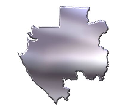 gabon: Gabon 3d silver map isolated in white Stock Photo
