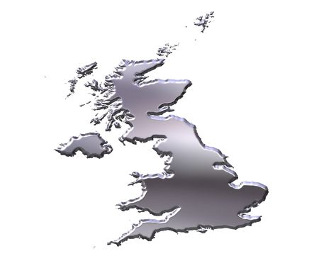 gb: Great Britain 3d silver map isolated in white