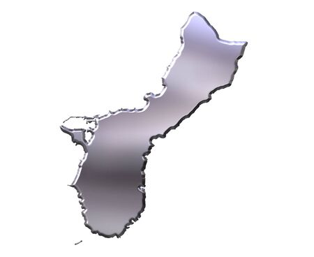 guam: Guam 3d silver map isolated in white