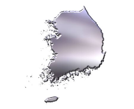 Korea South 3d silver map isolated in white photo