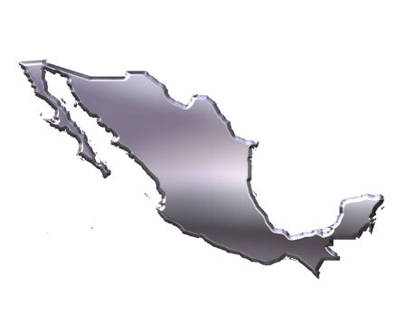 nation: Mexico 3d silver map isolated in white Stock Photo