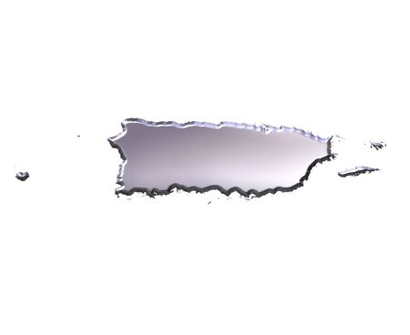 Puerto Rico 3d silver map isolated in white Stock Photo - 5617094