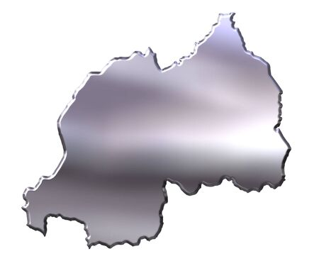 Rwanda 3d silver map isolated in white photo