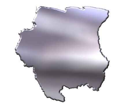 suriname: Suriname 3d silver map isolated in white