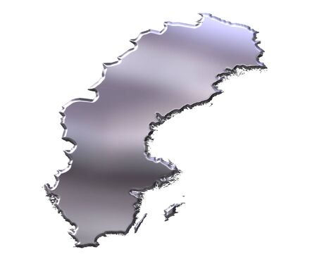 sverige: Sweden 3d silver map isolated in white