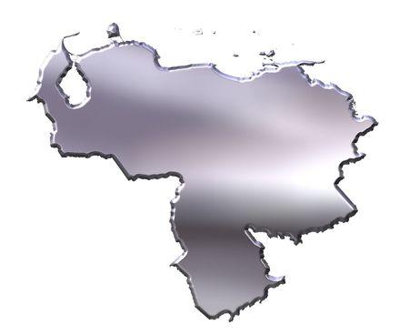 mapa de venezuela: Venezuela mapa de plata 3d aislado en blanco Foto de archivo