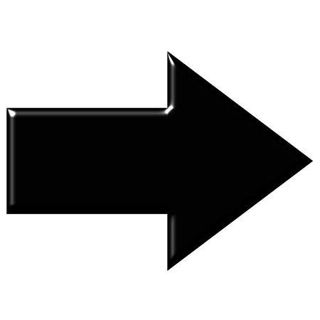 freccia destra: 3D freccia nera con la riflessione  Archivio Fotografico