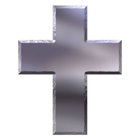 3d silver cross with carved edges  photo