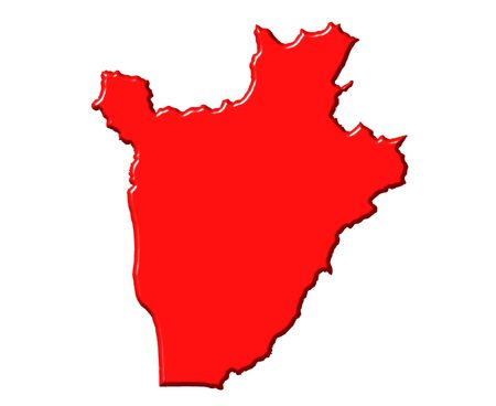 Burundi 3d map with national color isolated in white photo