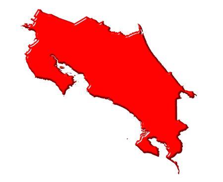 Mapa de Costa Rica 3d con los colores nacionales aislados en blanco  Foto de archivo - 5817780