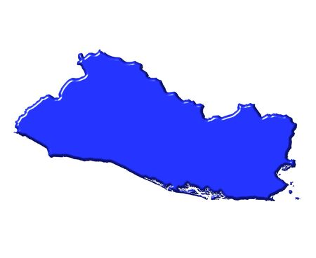 El Salvador 3d map with national color isolated in white photo