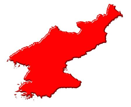 Korea North 3d map with national color isolated in white photo