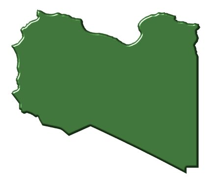 libyan: Libya 3d map with national color isolated in white