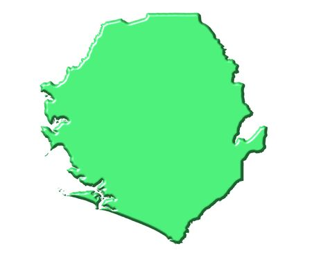 sierra: Sierra Leone 3d map with national color isolated in white