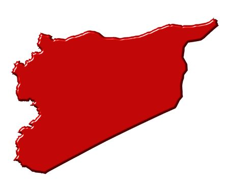 syria: Syria 3d map with national color isolated in white