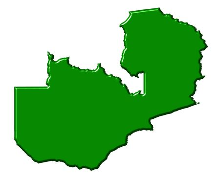 zambian: Zambia 3d map with national color isolated in white