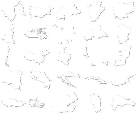 Brunei-Dominican Republic 3D White Maps  photo