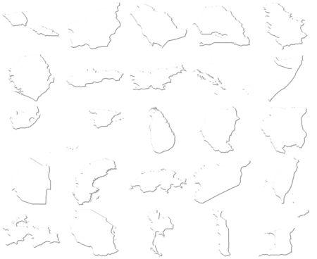 Samoa-Trinidad and Tobago 3D White Maps  photo