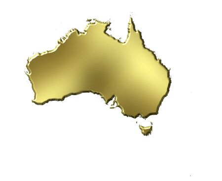 aussie: Australia 3d golden map isolated in white