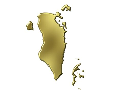 Bahrain 3d golden map isolated in white photo