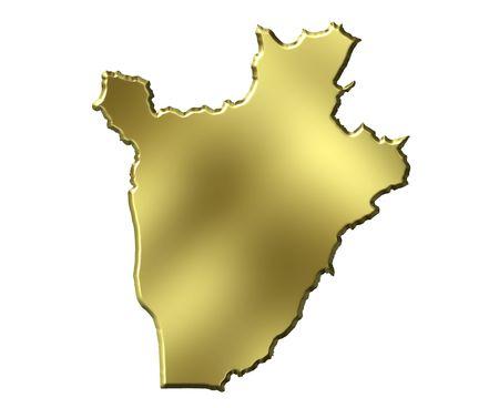 burundi: Burundi 3d golden map isolated in white