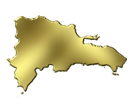 Dominican Republic 3d golden map isolated in white photo